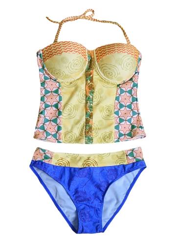 Sexy Women Bikini Set Floral Geometric Print Underwire Push Up Two Piece Swimsuit Swimwear Yellow