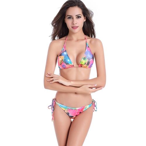 Nuevas mujeres Halter Bikini floral hoja Serpentina patrón de impresión traje de baño trajes de baño verde / rojo / púrpura