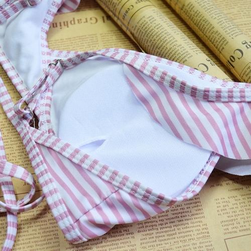 Sexy Women Swimwear Ruffles Bandage Bikini Set Push Up Padded Bra Bathing Suit Swimsuit Red, TOMTOP  - buy with discount