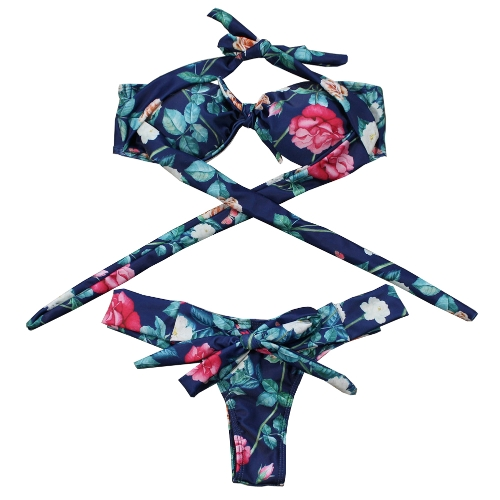 Mujeres atractivas traje de baño impresión vendaje Bikini brasileño hombro bañador Playa Biquini Push Up traje de baño azul oscuro