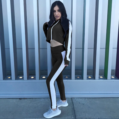 Donna Sport Set Crop Felpe con cappuccio Pantaloni Maniche lunghe Splicing Side Collant Palestra Fitness Casual Due pezzi