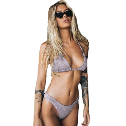 Sexy Women Blitter Halter Bikini Set Bling Sequin Biquini Купальники Купальный костюм Push Up High Cut Swimsuit
