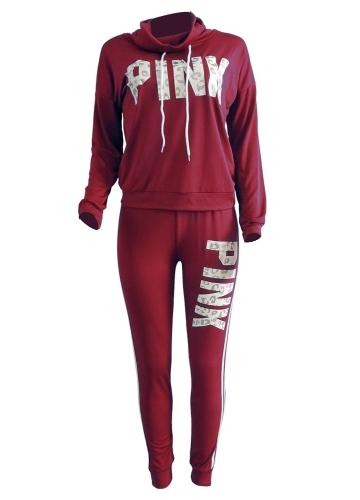 Conjunto de deporte para mujer Pantalones de chándal estampado de letras Jersey de cuello alto para empalme lateral