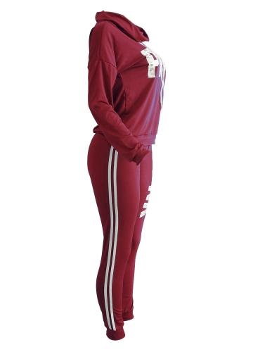 Women Sport Set Sweatershirt Pants Letter Print Turtleneck Splicing Side