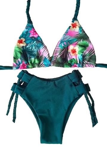 Bikini de las mujeres Set Floral Print Halter Trenzado Vendaje acolchado Hollow Out cintura baja Sexy traje de baño