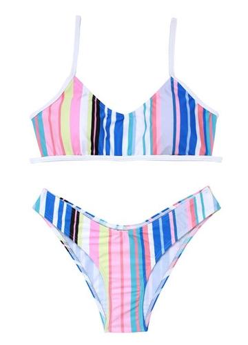 Frauen-Bikini-Set gestreiften Floral Plaid Print Backless gepolsterte niedrige Taille