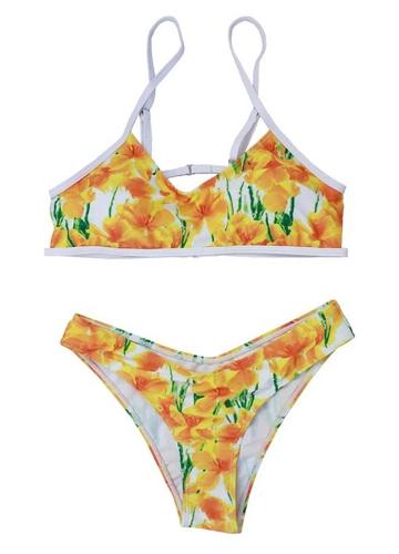 Conjunto de Bikini de mujer con estampado de cuadros florales sin respaldo cintura baja acolchada