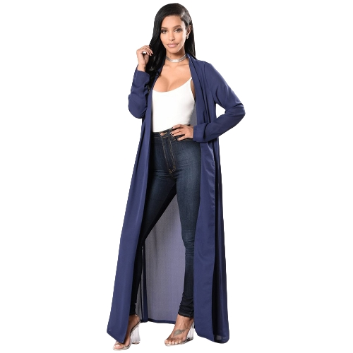 New Sexy Women Chiffon Maxi Cover Up Front Open Manga Longa Beach Pool Bikini Cover Up Coat Blue