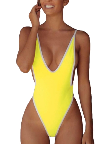 Nuevas mujeres atractivas traje de baño de una sola inmersión V cuello sólido de corte alto tanga Monokini traje de baño traje de baño