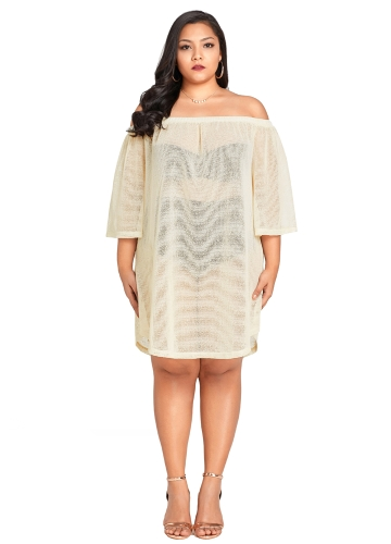 Nowe seksowne kobiety Sheer Cover Up Dress Off the Shoulder 3/4 rękaw Bikini Cover-up Overall Beige
