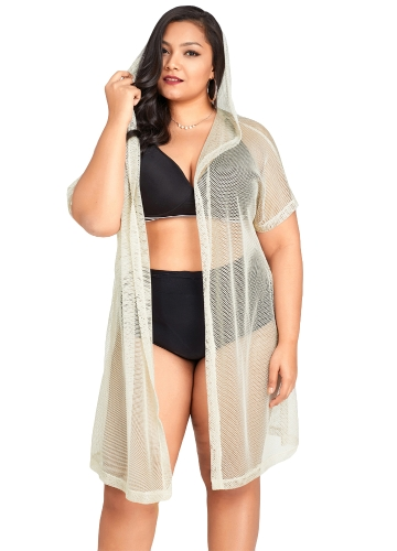 Mulheres Sexy Bikini Cover Up Fishnet Oco Out Com Capuz Cardigan Plus Size Outerwear Beachwear Bege