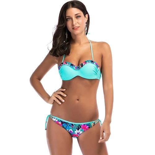 Sexy Women Floral Print Frill Bikini Set Halter Strój kąpielowy Push Up Beach 2 szt. Niebieski strój kąpielowy