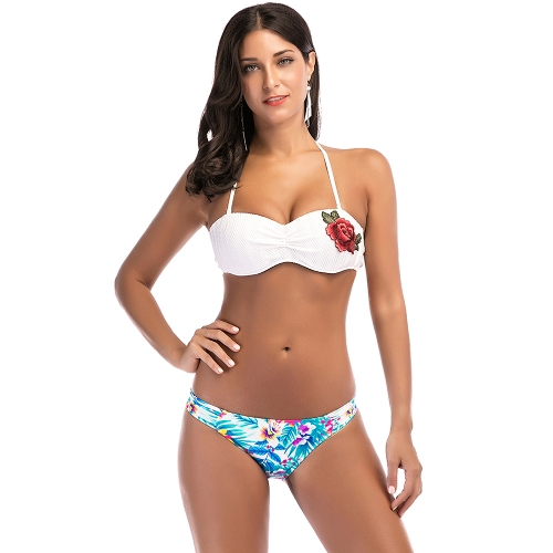 Mulheres Sexy Bordado Flor Halter Bikini Set Push Up 2 Peça Swimwear Maiô Branco