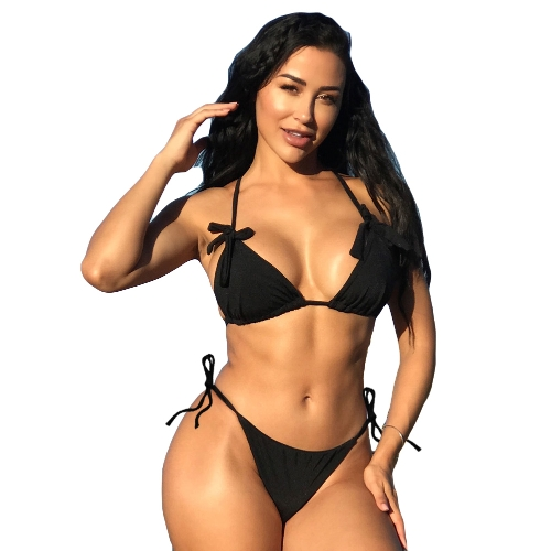 New Sexy Women Bikini Set Halter Neck Self-tie Backless Low-rise Tie Waist Swimwear Two Pieces