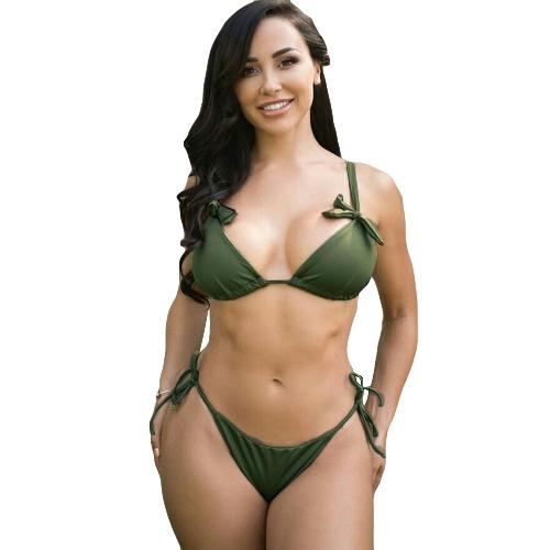 Nueva Sexy Bikini de mujer Set Halter Neck Self-tie Backless Low-rise Tie cintura traje de baño dos piezas