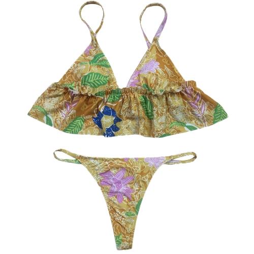 Bikini brasileño de las mujeres atractivas conjunto bañador de la colmena traje de baño de la impresión de la flor desgaste de la playa traje de baño de dos piezas rojo / azul / de color caqui