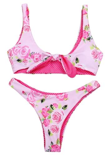 Conjunto de Bikini de mujer sexy Floral Dot Print Tie-Up traje de baño inalámbrico trajes de baño Ropa de playa de dos piezas