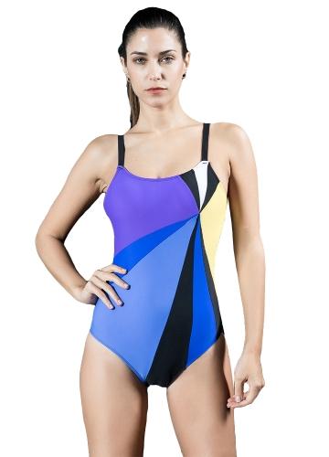 Sexy Frauen Einteiliger Badeanzug Kontrast Farbblock Sportlich Monokini Bademode Badeanzug Blau / Rot