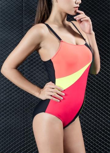 Mujeres sexy traje de baño de una pieza contraste Bloque de color deportivo Monokini traje de baño traje de baño azul / rojo