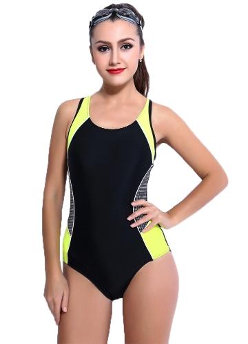 Sexy Women One-piece Swimsuit Contrast Color Block Sporty Monokini Swimwear Bathing Suit Dark Blue/Black/Pink