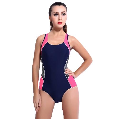 Mujeres sexy traje de baño de una pieza contraste Color Block deportivo Monokini traje de baño traje de baño azul oscuro / negro / rosa
