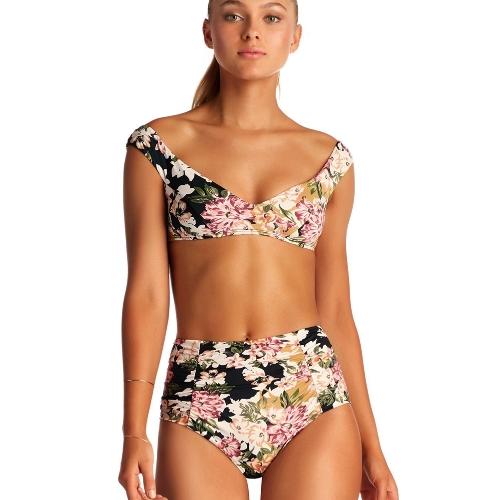 Neue Sexy Frauen Floral Bikini Set V-Ausschnitt Sleeveless Hohe Taille Padding Print Bade Beach Bademode Badeanzug Pink