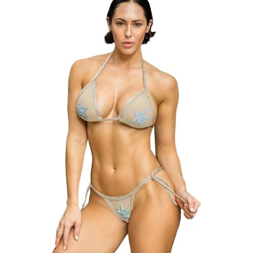 Bikini de las mujeres Set estrellas lentejuelas Halter atada cintura acolchada de dos piezas traje de baño traje de baño