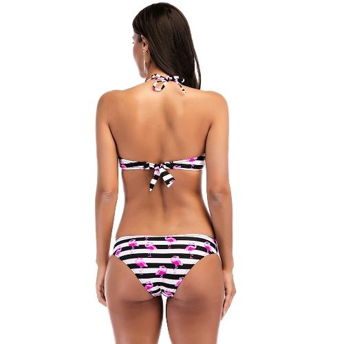 Frauen Bikini Set Striped Flamingo Print Halter Rückenfrei Gepolsterte Zwei Stücke Badeanzug Bademode