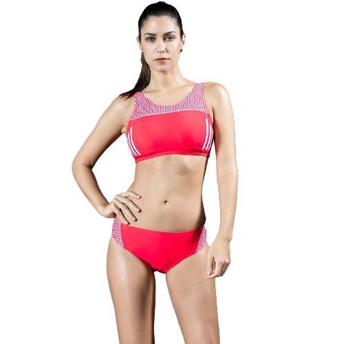 Las mujeres Tankini deportivo conjunto de rayas recortada sin mangas acolchado inalámbrico de dos piezas traje de baño Bikini Swimwear