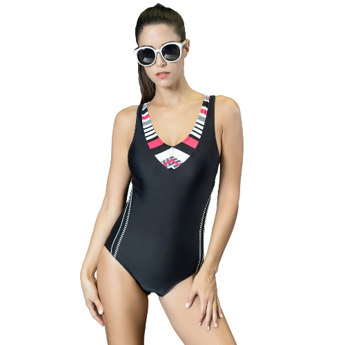 Mulheres Sporty One Piece Swimsuit Cut Out Racer Back Striped Padded Swimwear Playsuit Jumpsuit Rompers