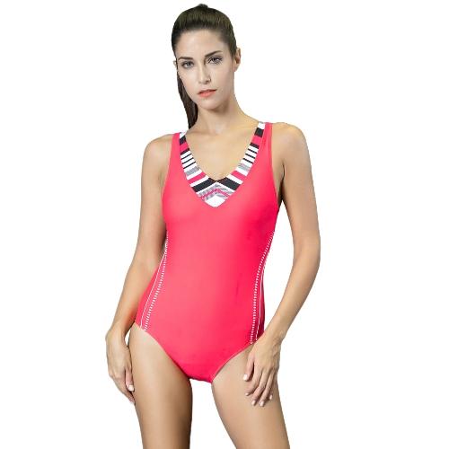 Mujeres Deportivas de una pieza traje de baño corte hacia fuera Racer Back rayas traje de baño acolchado Playsuit mono mamelucos
