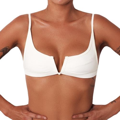 Bikini de mujer sexy top V traje de baño delantero Top Backless traje de baño de playa Bralette bañador