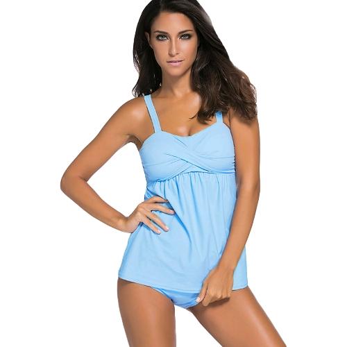 Mujeres de moda Push Up Tankini Set acolchado inalámbrico de cintura baja Bikini Set Beach baño traje de baño