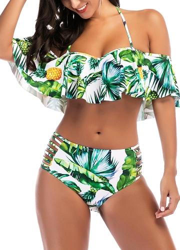 Sexy Women Pineapple Print Ruffle Swimsuit Cutout Bikini Set Push Up Swimwear Bathing Suit Green