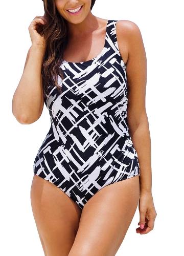 Sexy Frauen Große Größe Einteiliger Badeanzug Kontrast Farbe Streifen Monokini Bademode Badeanzug Blau / Schwarz / Hellgrün