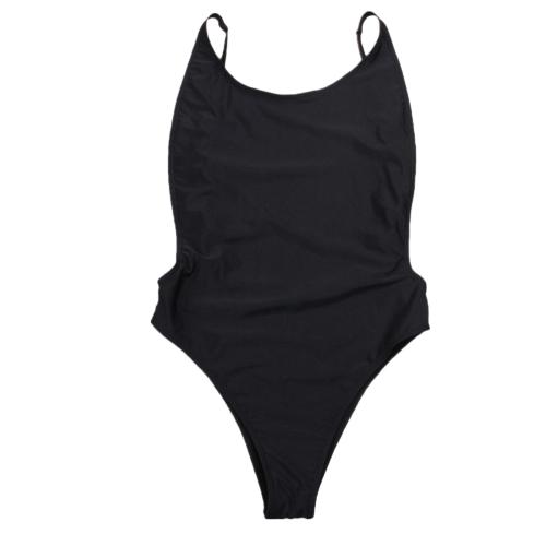 Frauen Badeanzug ausgeschnitten Open Back Solid Gepolsterte Bademode Monokini Badeanzug Beachwear