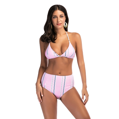 Frauen Streifen hohe Taille Bikini Set Halter Push Up gepolsterte Bandage Badeanzug Bademode Badeanzug