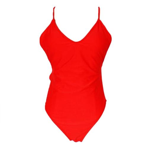 Traje de baño de una pieza de las mujeres correa de espagueti espalda abierta traje de baño acolchado Monokini traje de baño