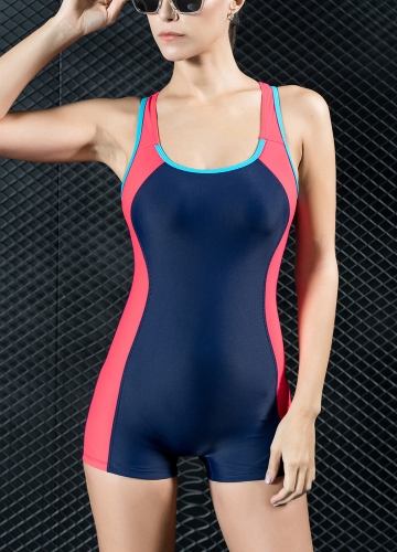 Women Sports One Piece Swimsuit Swimwear Shorts Backless Bathing Suit Swimming Suit Blue/Red/Grey