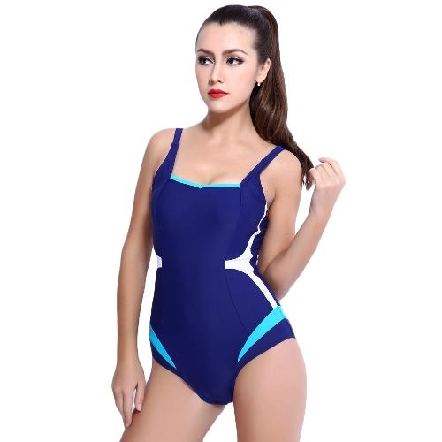 Sexy Women One-Piece Swimwear Color Splice Sem mangas Enchimento sem fio Traje de banho Swimsuits Beach Wear