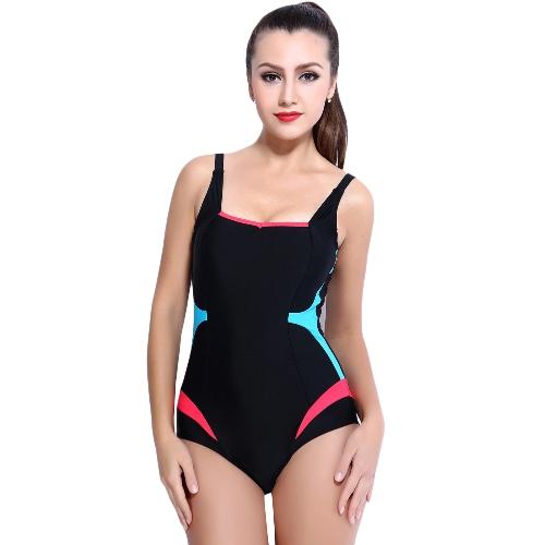 Mujeres atractivas traje de baño de una sola pieza empalme del color sin mangas acolchado traje de baño inalámbrico trajes de baño desgaste de la playa