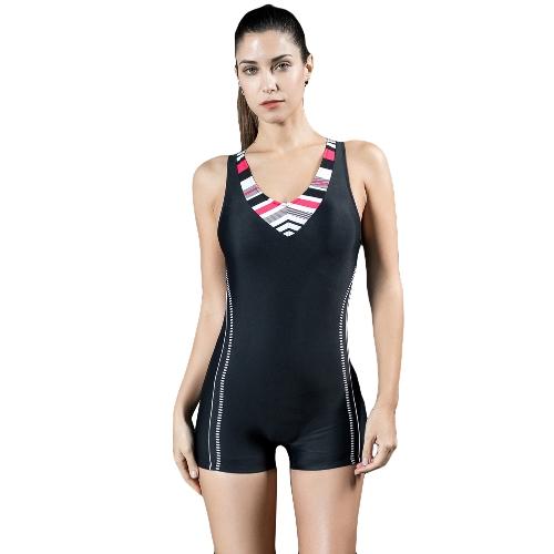 Moda Mulheres Sports One Piece Swimsuit Professional Racing Swimwear Monokini Bathing Suit Beachwear Bodysuit Boxer