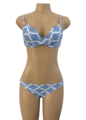 Mulheres Bikini Set Padrão Geométrico Imprimir Bandage Cross Over Acolchoado Oco Out Cintura Baixa Sexy Swimsuit Azul