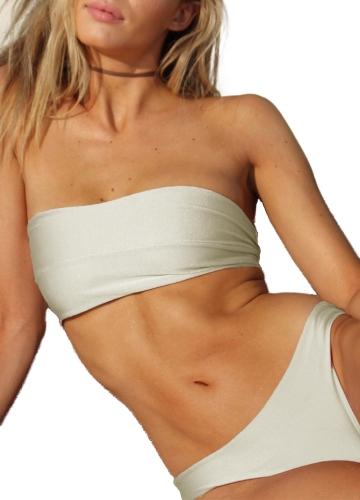 TOMTOP / Women Bikini Set Strapless Bandeau Solid Color Leopard Print Padded Low Waist Tie Sexy Two Piece Swimwear