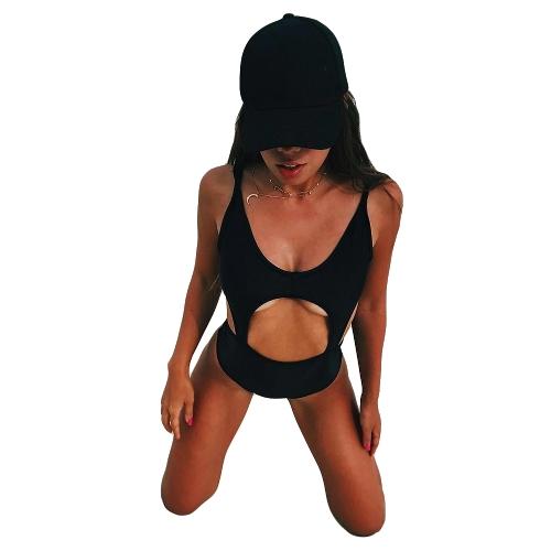 Nowy seksowny kobiety strój kąpielowy jednoczęściowy wyciąć Backless Wyściółka stroje kąpielowe bez rękawów strój kąpielowy kostium kąpielowy