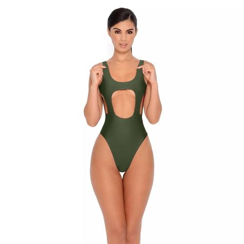 Новые сексуальные женщины One Piece Swimsuit Cut Out Backless Padding Sleeveless Swimwear Beachwear Купальный костюм