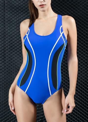 Women Professional One Piece Swimsuit Sports Swimwear Contrast Bathing Suit Swimming Suit Black/Royal Blue/Dark Blue