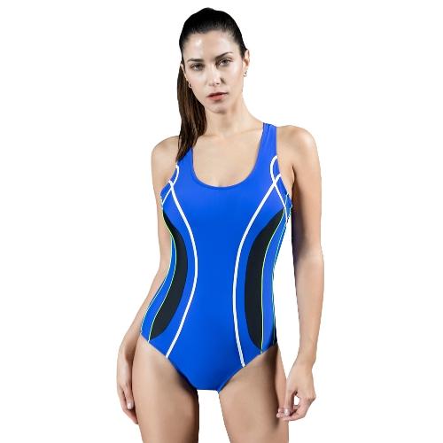 Traje de baño profesional de una pieza traje de baño traje de baño de contraste traje de baño negro / azul marino / azul oscuro