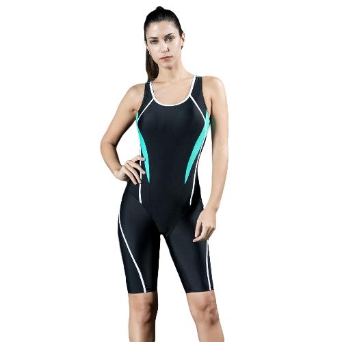 Mujeres Profesionales Deportes Traje de baño de una pieza Traje de competición Competencia completa Traje de baño de rodilla completo Negro / Azul Real / Azul oscuro
