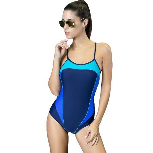 Sexy Women One-Piece Swimwear Color Splice Cortado Strappy Sem mangas Enchimento sem fio Traje de banho Swimsuits Beach Wear